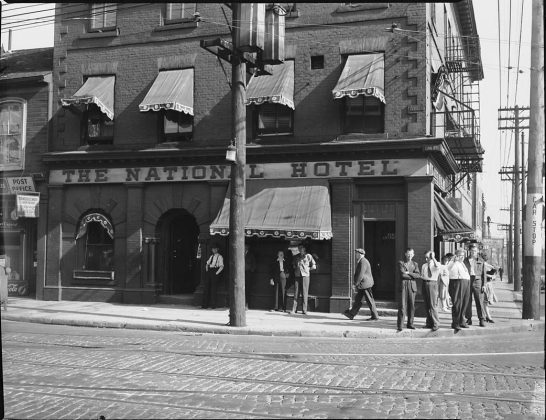1945 – The National Hotel once at 249-251 King St E and Sherbourne St, southeast corner