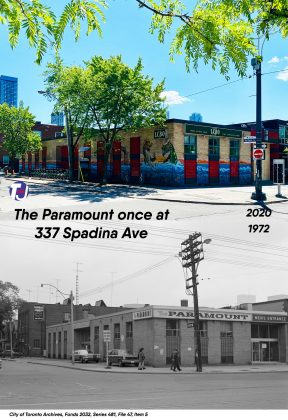 2020/1972 - The Paramount once at 337 Spadina Ave (at Baldwin St)