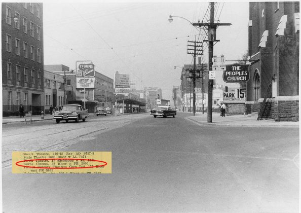 1959 - Towne Cinema once at 57 Bloor St E, east of Yonge St on south side - opened from 1949 to 1985, building no longer exists