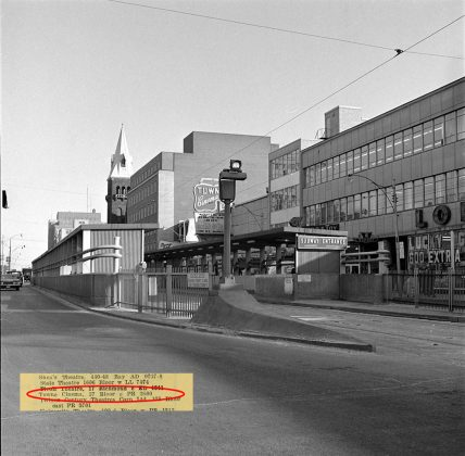 1960 - Towne Cinema once at 57 Bloor St E, east of Yonge St on south side - opened from 1949 to 1985, building no longer exists