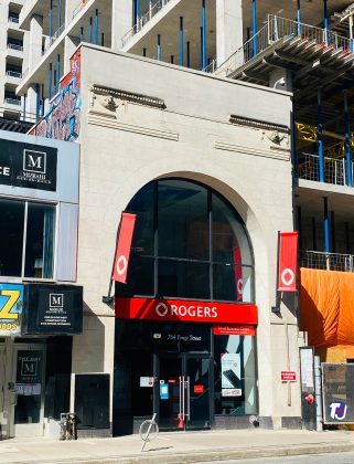 2021 - Once the entrance to the Uptown Theatre, now Rogers Store at 764 Yonge St (The One condo tower is being constructed north of the building)