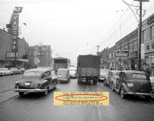 1954 - Vaughan Theatre once at 550 St Clair Ave, west of Vaughan Rd on north side - opened in 1947, building no longer exists
