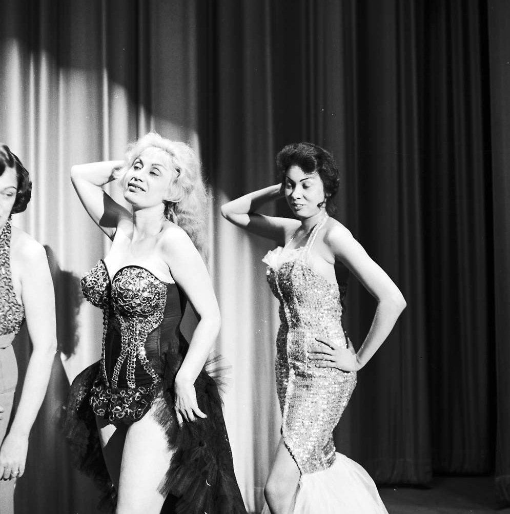 1960 - Performers posing on stage at the Lux Burlesque Theatre