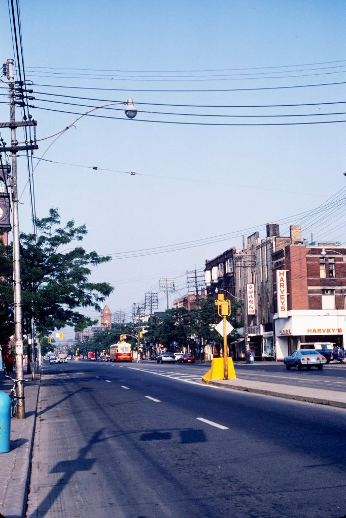 1983 - View of College St looking west aross Brunswick Ave - the Lido Theatre on right