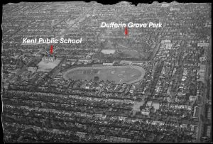 1930 - The egg-shaped Dufferin Park Racetrack, looking northeast