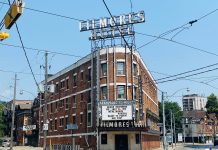 Filmores Hotel is located at 212 Dundas St E in Toronto (2021)