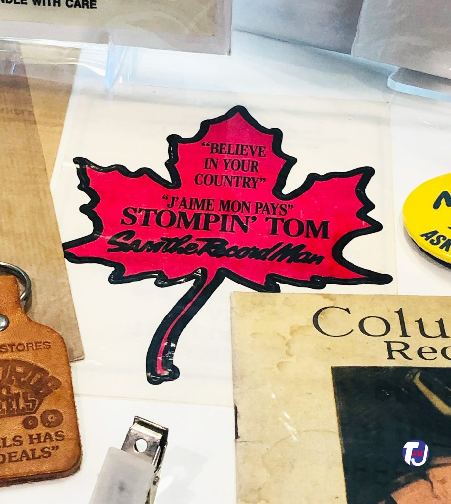 Sam the Record Man/Stompin' Tom Connors decal displayed at the Friar's Music Museum