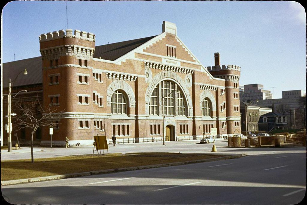 1961 - University Avenue Armouries at Armoury St, looking southeast