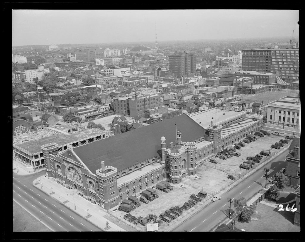 1950 - Aerial view of University Avenue Armouries, looking northeast