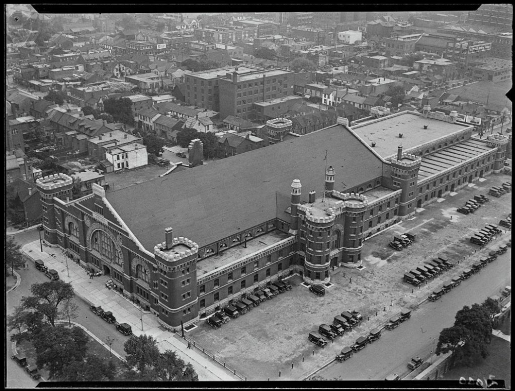 1930 - University Avenue Armouries from the 16th floor of the Canada Life Building, looking northeast