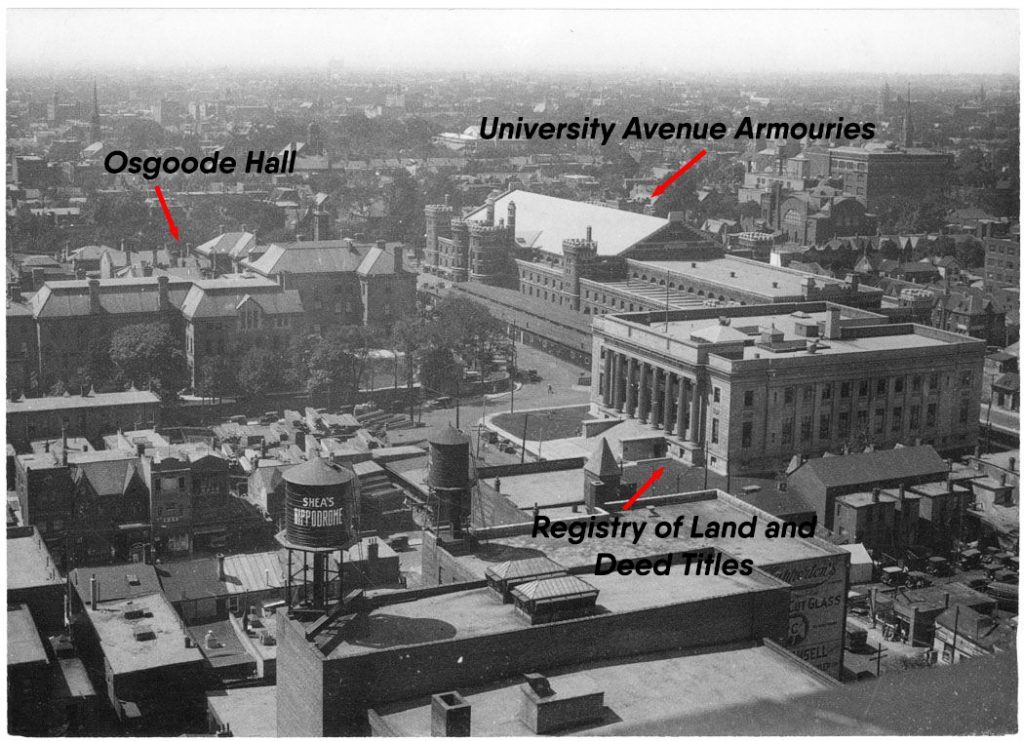 1925 - Osgoode Hall, University Avenue Armouries and the Registry of Deeds and Land Titles Building, looking northwest