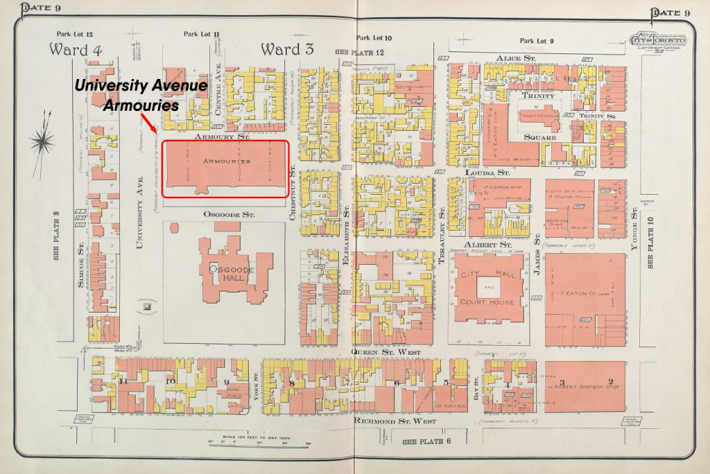 1910 - Goads Map showing the location of the University Avenue Armouries