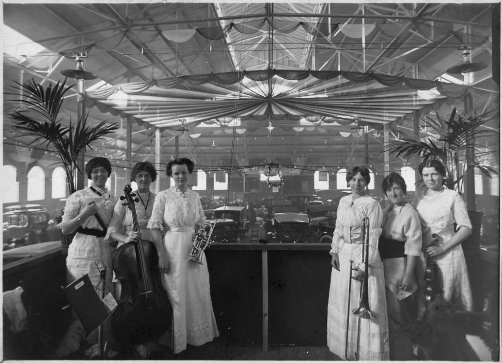 1912 - Ladies' orchestra at an auto show in the Armouries