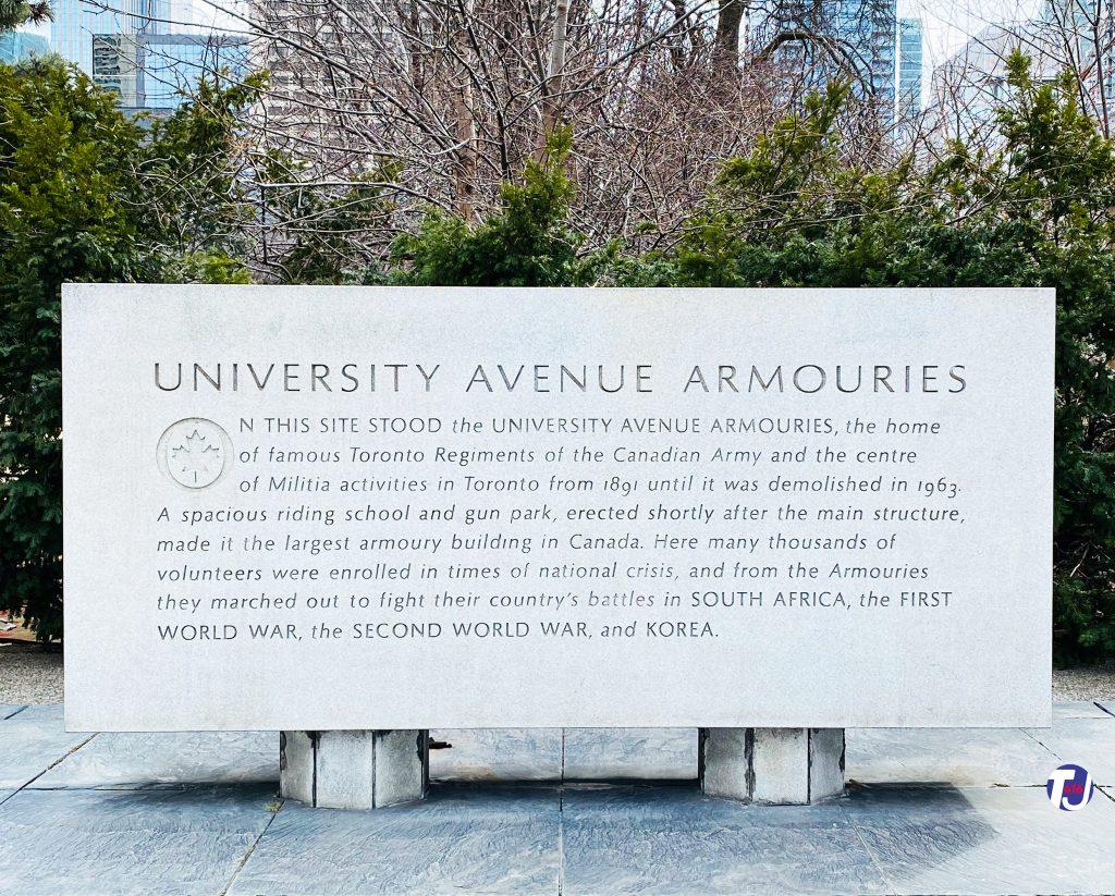 2021 - University Avenue Armouries monument