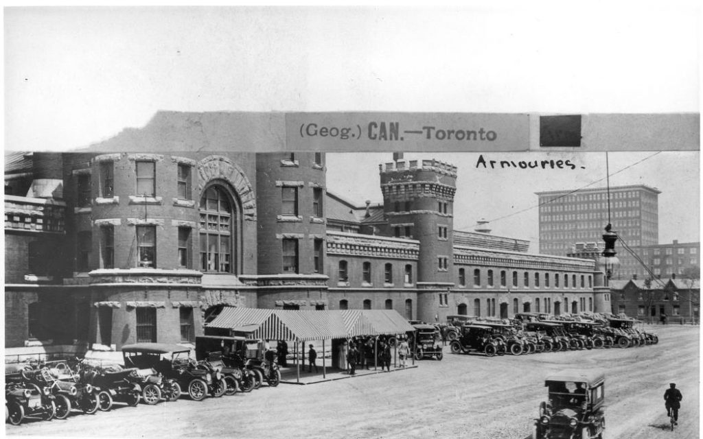 1913 - Cars parked outside the University Avenue Armouries