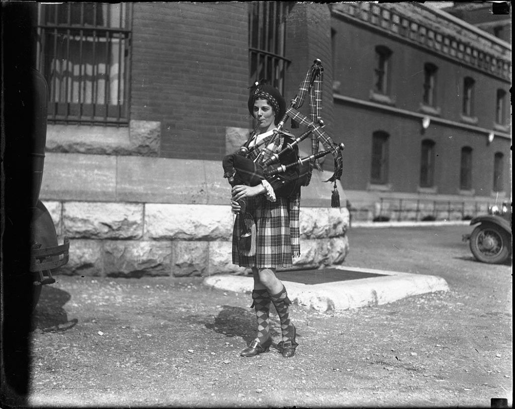 1930's - A bagpiper at the University Avenue Armouries