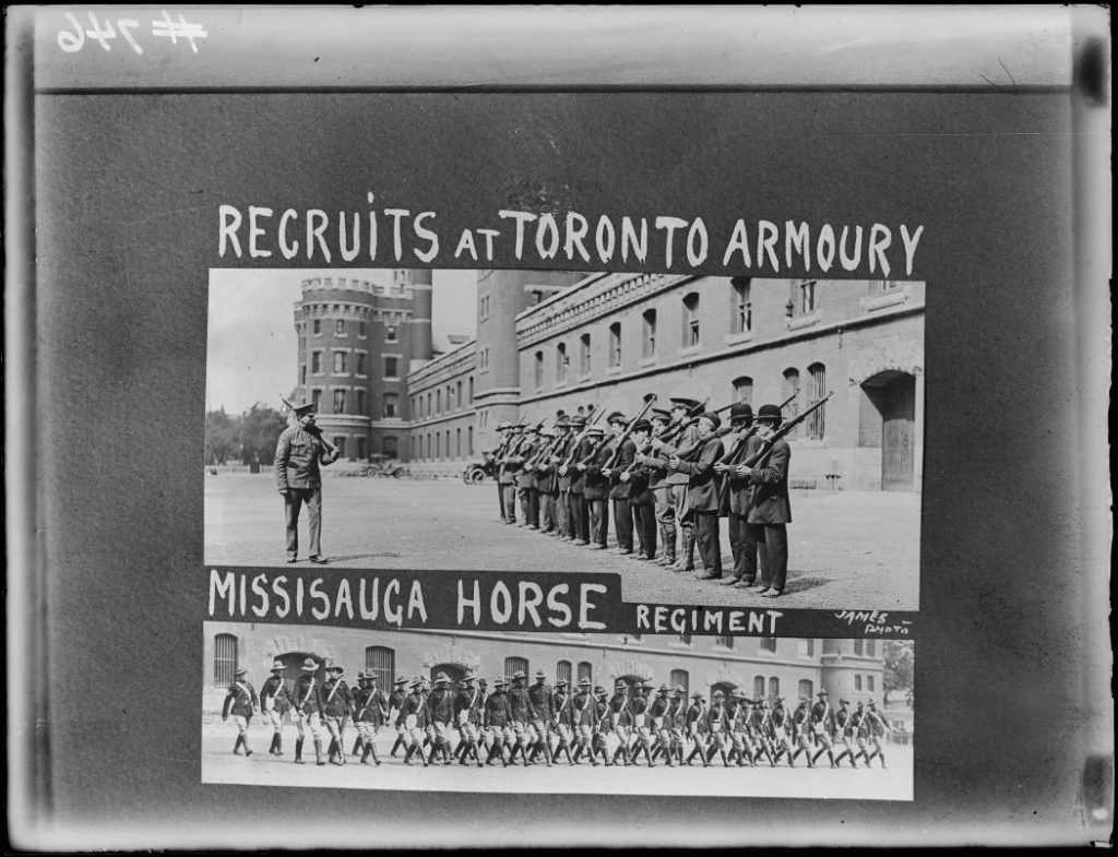 1914 - Recruits and Mississauga Horse Regiment at the University Avenue Armouries