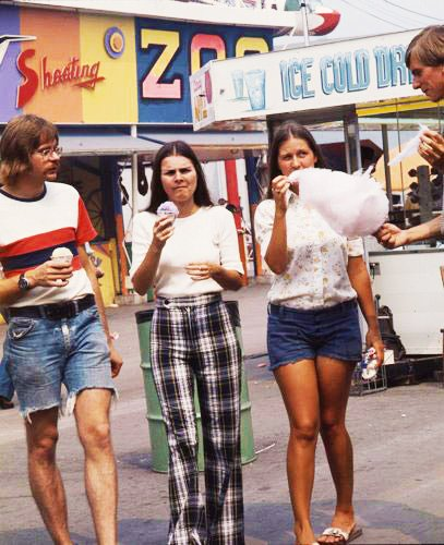 1970's - Jean cut-offs, plaid pants, cotton candy and sno cones on The Midway
