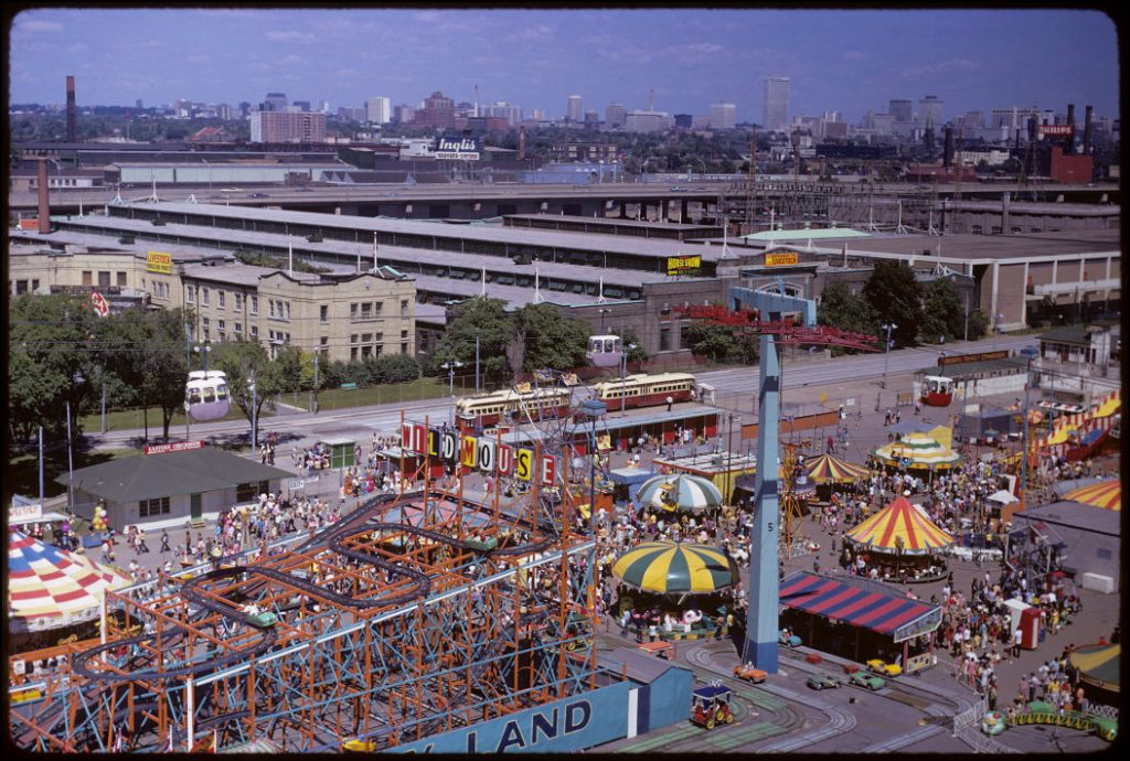 1972 - Overhead view of Exhibition grounds and The Midway