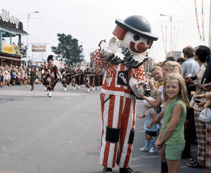 """1967 - Conklin Shows """"Conko the Clown"""" near Alpine Way at The Ex"""
