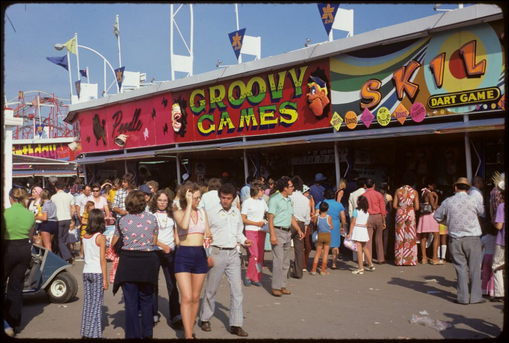 1974 - CNE Midway in front of the Groovy Games booth