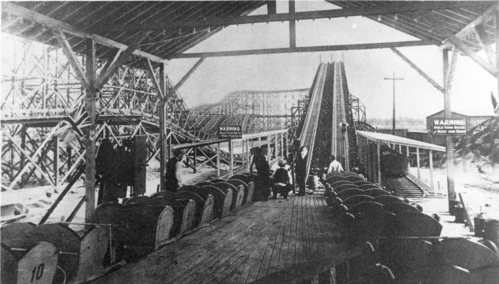 """1910 - """"Racing Coaster"""" at the Exhibition, designed and built by Lynn Welcher Construction Co"""