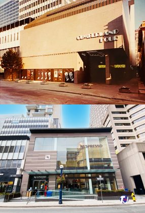 1980's/2021 - Cumberland Four once at 159 Cumberland St, south side east of Avenue Rd - the site is now home to Nespresso