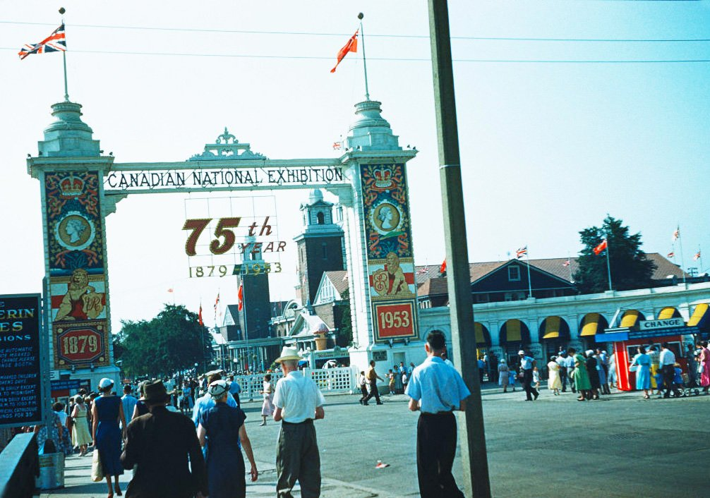 1953 - Looking southwest towards the Dufferin Gate (1912-1958) and the Canadian National Exhibition