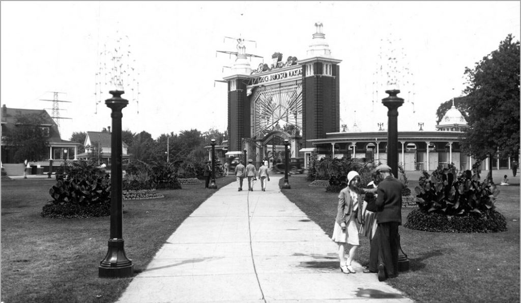 1930 - Exhibition Park, looking northwest to Dufferin St entrance