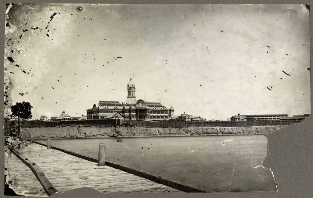 1880 - Dufferin/Exhibition Wharf, the Crystal Palace (1858-1906) and Exhibition grounds, looking northeast