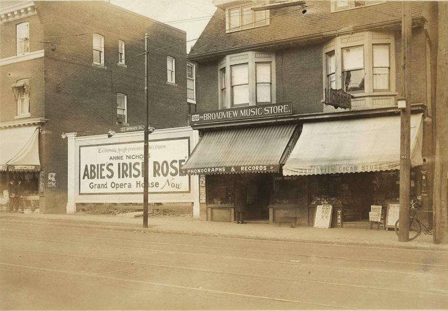 1923 - A billboard on Broadview Ave for Abie's Irish Rose playing at the Grand Opera House