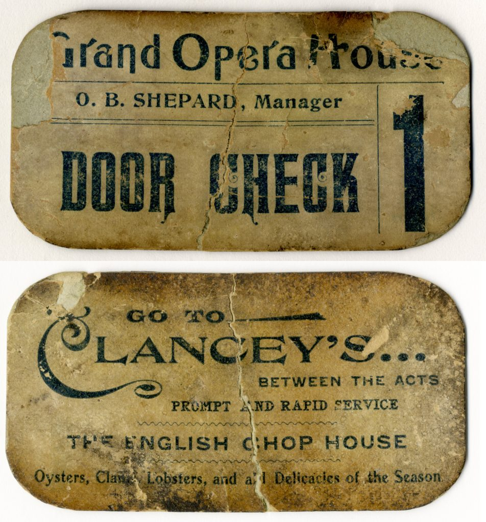 1885/95 - Grand Opera House door check ticket, front and back