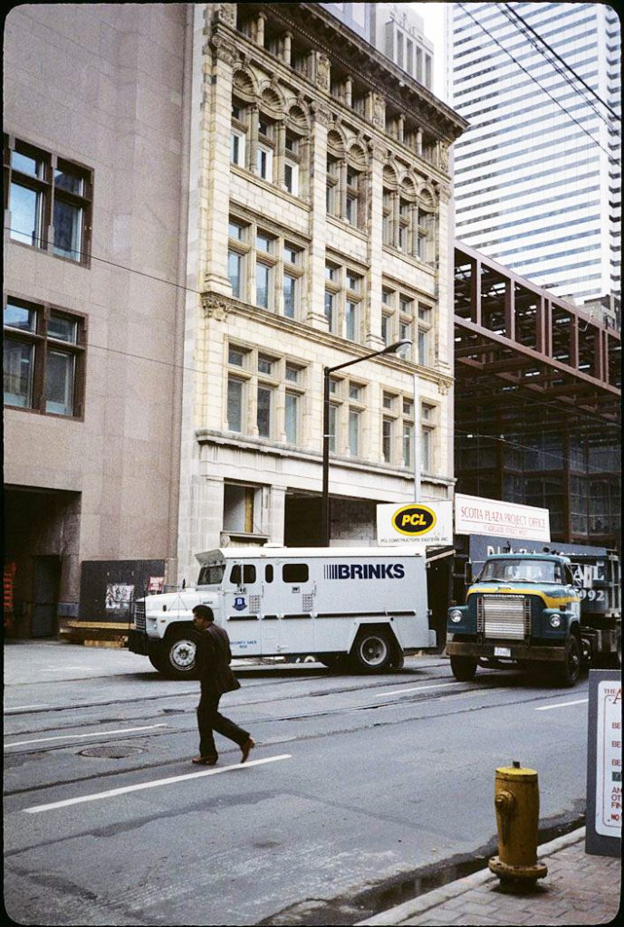 1988 - The property the Grand Opera House once occupied at 11 Adelaide St W, now part of the Scotia Plaza with the recently completed facade of the John Kay, Son & Company/Wood Gundy building once at 36-38 King St W