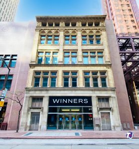 2020 - The property the Grand Opera House once occupied at 11 Adelaide St W, now part of the Scotia Plaza with the facade of the John Kay, Son & Company/Wood Gundy building once at 36-38 King St W