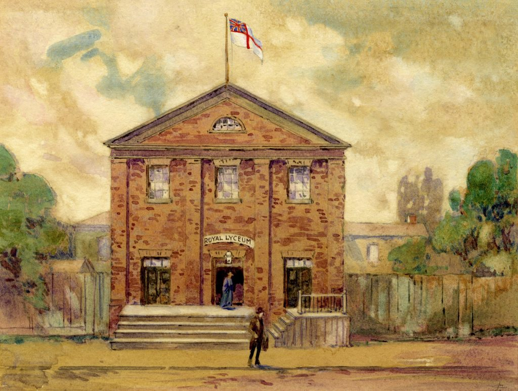 1913 - Illustration of the Royal Lyceum (1848-1873), one of Toronto's first theatres, on the south side of King St W, between York and Bay Sts