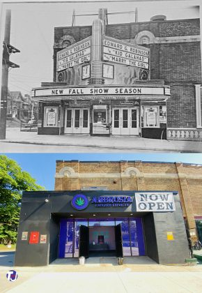 1937/2021 - Parkdale Theatre once at 1605 Queen St W at Triller Ave, southwest corner - opened from 1920 to 1970 - now Ambrosia Cannabis Emporium
