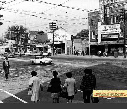 1968 - Victory Burlesque Theatre (previously Standard, Strand and later Golden Harvest) once at 287 Spadina Ave and Dundas St W, northeast corner - opened from 1922 to about 1994, now Rexall Drugstore