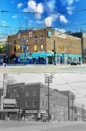 2020/1972 - Victory Burlesque Theatre once at 287 Spadina Ave and Dundas St W, northeast corner - now Rexall Drugstore