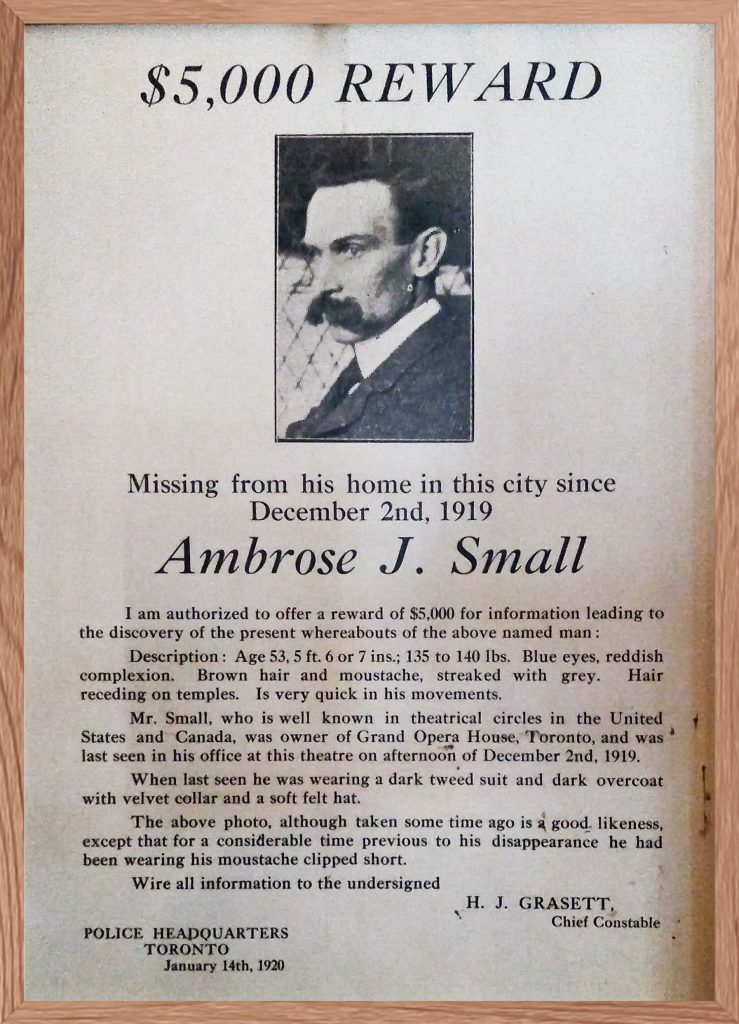 1920 - Ambrose J Small, owner of the Grand Opera House, missing poster