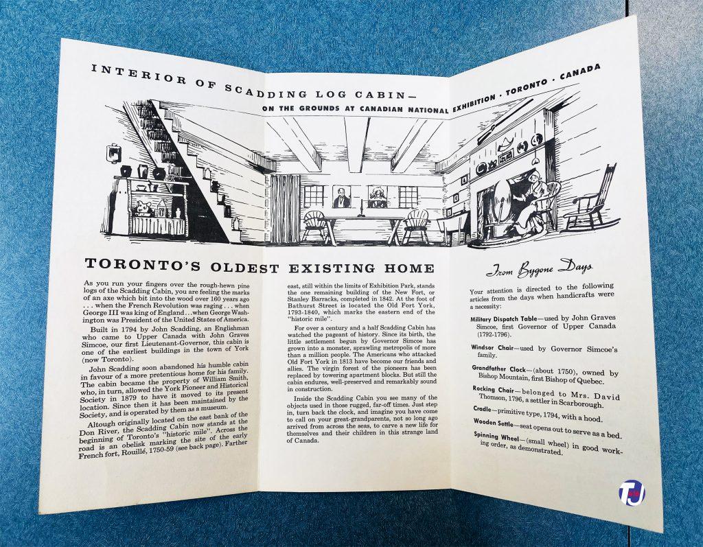 1950's - Inside brochure for Scadding Log Cabin
