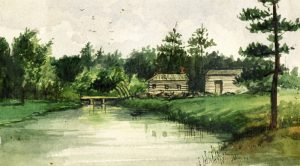 1795 - The Scadding Cabin, south of Queen St E and bridge over the Don River, from a sketch by Elizabeth Simco