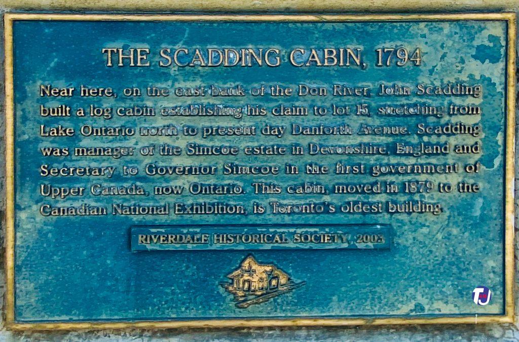 2020 - The Scadding Cabin historical plaque on the Riverside Bridge