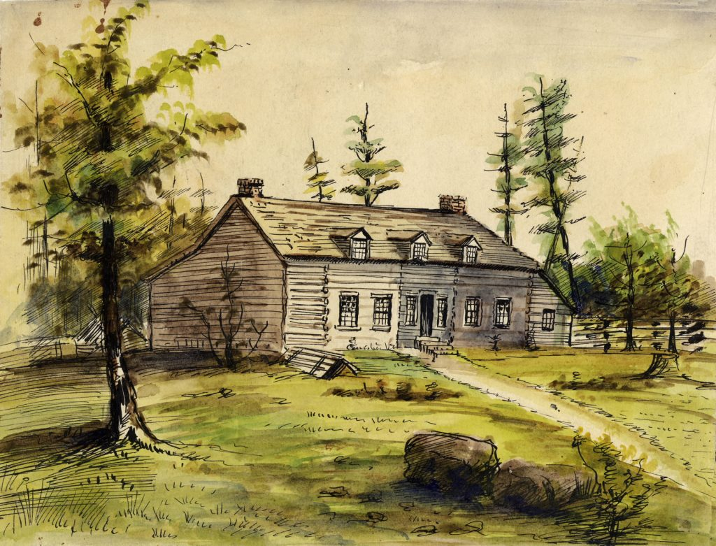 1800's - John Scadding's second home, east of the Don River and north of Gerrard St E, showing addition on right side of home for son Henry, a future Toronto historian