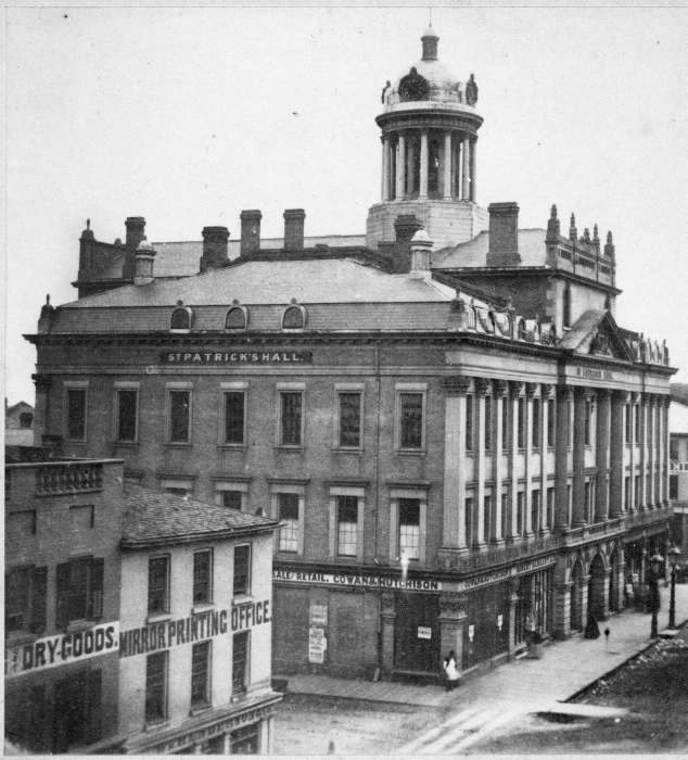 1859 - Overhead view of St Lawrence Hall and Mirror Printing Office at King St E and Jarvis St, looking southwest