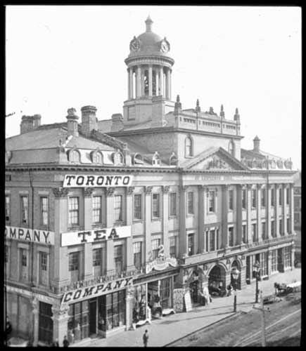 1874 - Overhead view of the Hall at King St E and Jarvis St, looking southwest