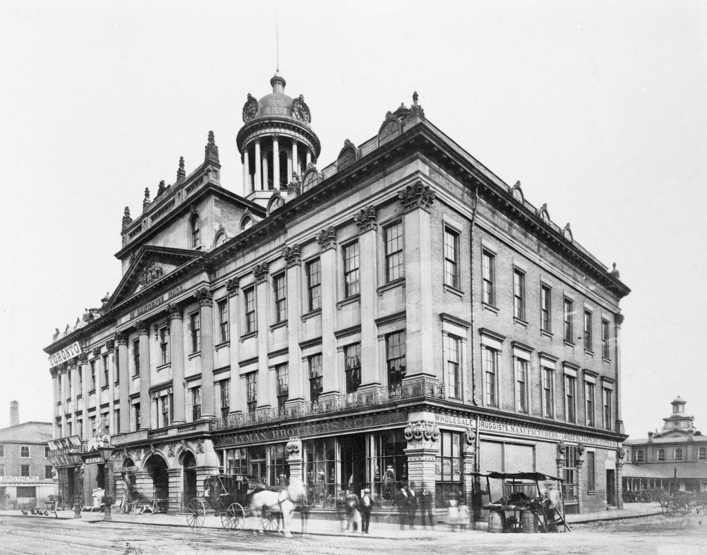 1885 - St Lawrence Hall with the North Market in the background, looking southeast