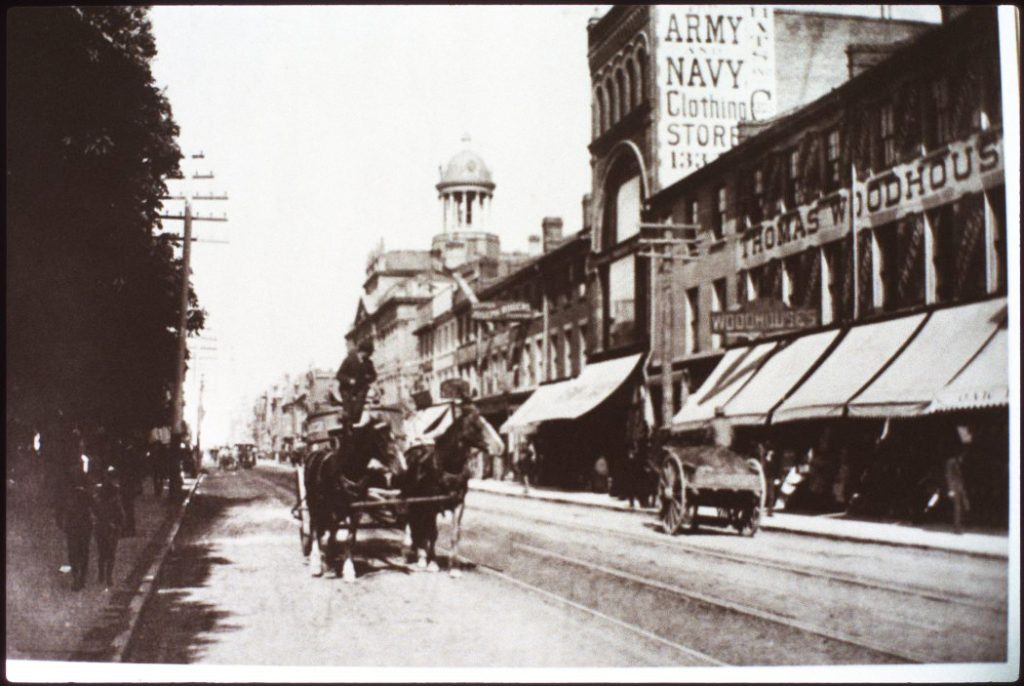 1890's - Looking east along King St E towards Jarvis St