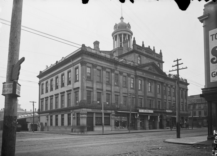1897 - St Lawrence Hall at King St E and Jarvis St, looking southwest