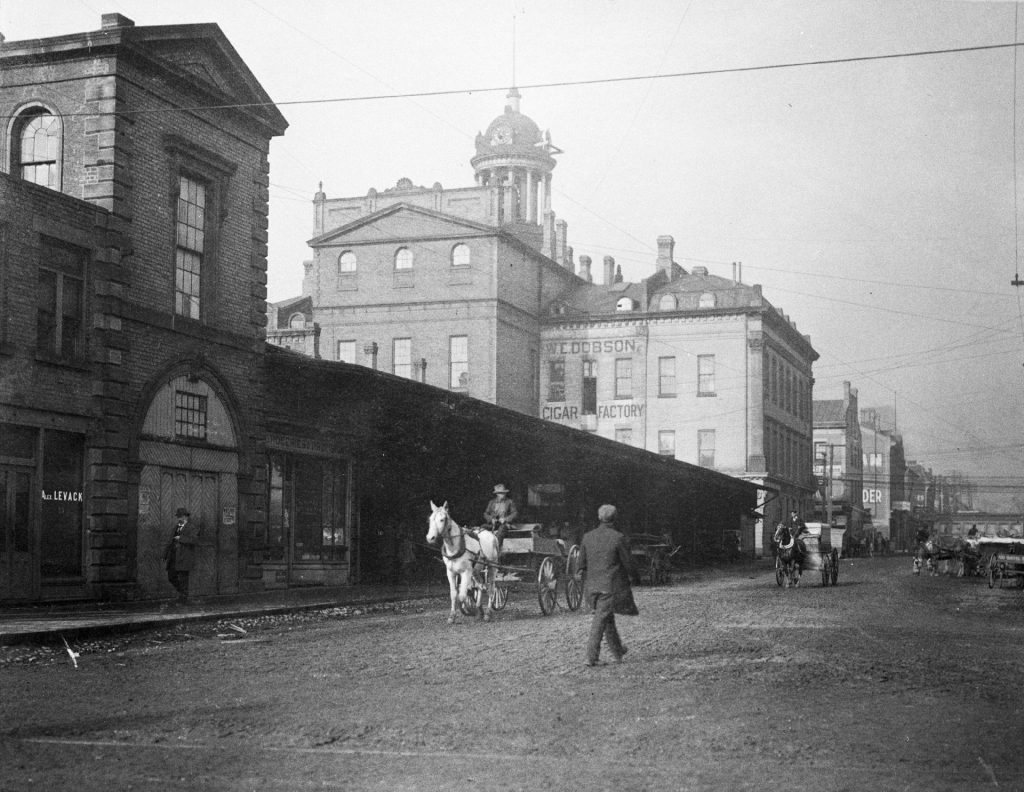 Before 1898 - St Lawrence Market North and Hall from Front St E and Jarvis St, looking northwest