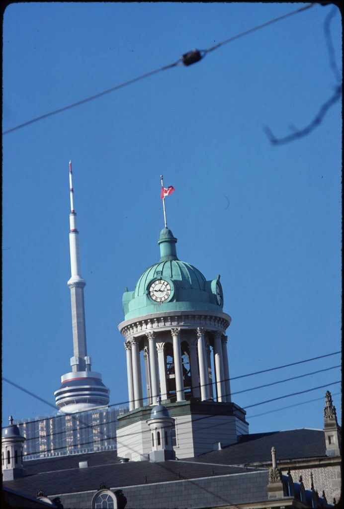 1979 - Cupola of St Lawrence Hall and top of CN Tower, looking southwest
